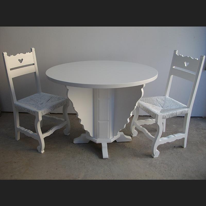 mesa sillas lacadas blanco