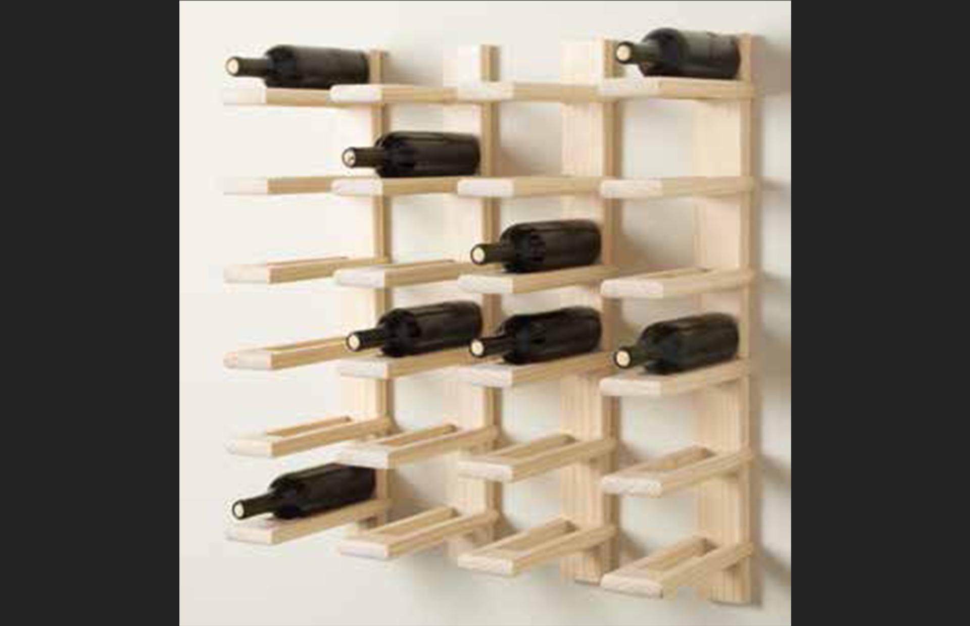 botellero madera natural