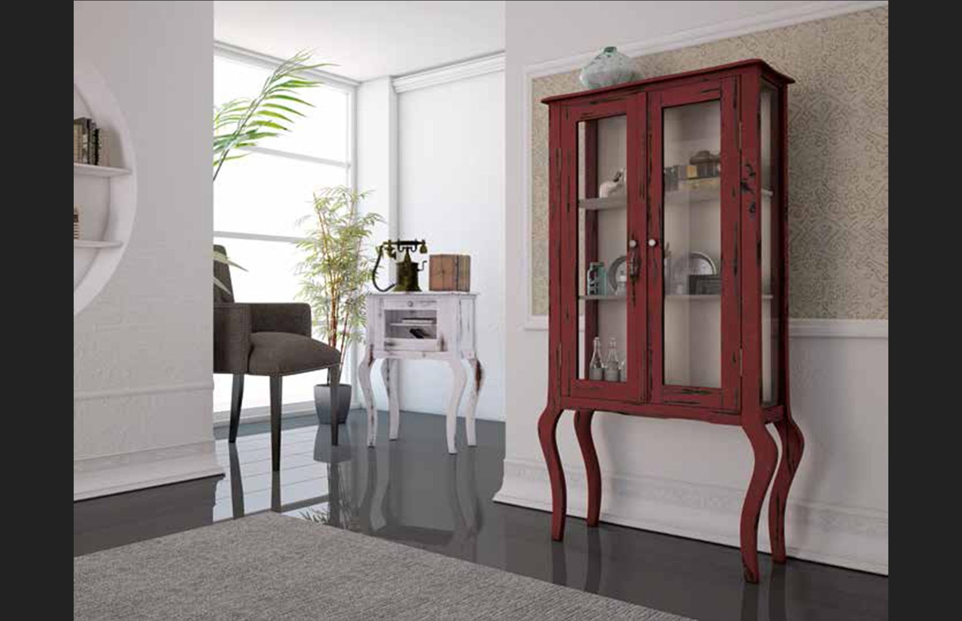mueble vitrina efecto envejecido